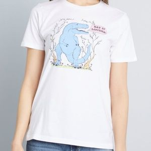 NWT ModCloth Say It Louder Dinosaur Graphic Tee
